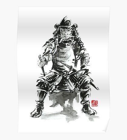Samurai sword bushido katana armor silver steel plate metal kabuto costume helmet martial arts sumi-e original ink painting artwork Poster