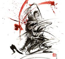 Samurai sword black white red strokes bushido katana martial arts sumi-e original fight ink painting artwork by Mariusz Szmerdt