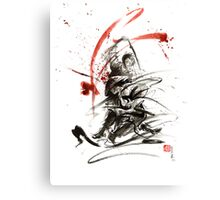 Samurai sword black white red strokes bushido katana martial arts sumi-e original fight ink painting artwork Canvas Print