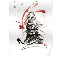 Samurai sword black white red strokes bushido katana martial arts sumi-e original fight ink painting artwork Poster