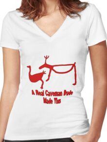 A Real Caveman Dude Drew This Women's Fitted V-Neck T-Shirt