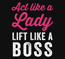 Act Like A Lady Lift Like A Boss (White) Womens Fitted T-Shirt