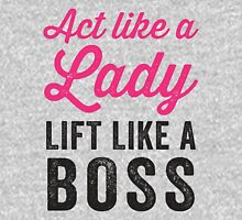 Act Like A Lady Lift Like A Boss (Black) Womens Fitted T-Shirt