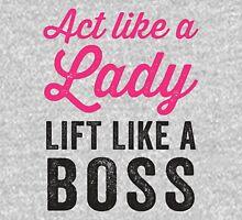 Act Like A Lady Lift Like A Boss (Black) Womens Fitted T-Shirt