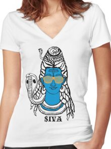 LORD SHIVA, COSMIC ROCKSTAR Women's Fitted V-Neck T-Shirt
