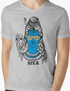 LORD SHIVA, COSMIC ROCKSTAR Mens V-Neck T-Shirt
