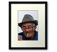 Old Cuban man & cigar, Trinidad, Cuba Framed Print