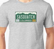 Colorado Sasquatch License Plate  Unisex T-Shirt