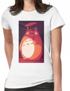 Totoro in the rain Womens Fitted T-Shirt