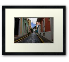 Dazzling Caribbean Colors - a Street in San Juan, Puerto Rico Framed Print