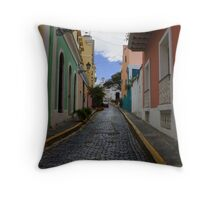 Dazzling Caribbean Colors - a Street in San Juan, Puerto Rico Throw Pillow
