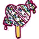 Skull arrow heart pop pink blue black by aygeartist