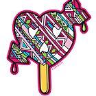 Skull arrow heart pop pink blue black by aygeartist