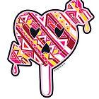 Skull arrow heart pop red pink orange  by aygeartist