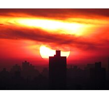 Winter sunset in New York City  Photographic Print