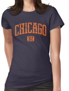 Chicago 312 (Orange Print) Womens Fitted T-Shirt