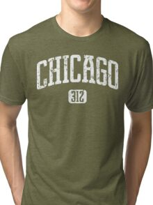 Chicago 312 (White Print) Tri-blend T-Shirt