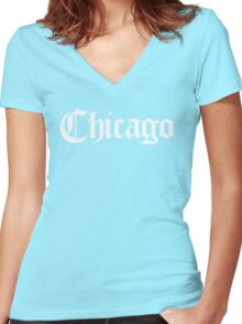 Chicago Gothic (White Print) Women's Fitted V-Neck T-Shirt