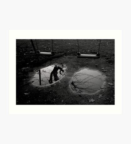 Black and white conceptual photo print puddle with reflection and swing fine art wall art - Specchi del passato Art Print