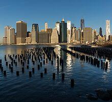 Luminous Blue, Silver and Gold - Manhattan Skyline and East River by Georgia Mizuleva