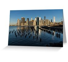 Luminous Blue, Silver and Gold - Manhattan Skyline and East River Greeting Card