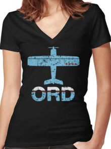 Fly Chicago ORD Airport Women's Fitted V-Neck T-Shirt