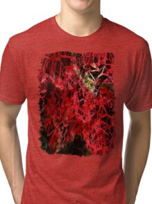 Mottled Red Poinsettia 1 Ephemeral Letters 2 Tri-blend T-Shirt