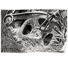 Black and white film industrial photography old machinery parts - Ferri Abbandonati Poster
