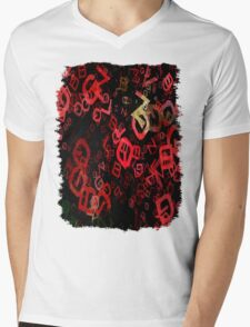 Mottled Red Poinsettia 1 Ephemeral Letters 3 Mens V-Neck T-Shirt