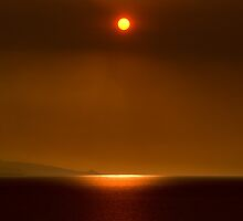 Sunset on the Mediterranean Sea fine art color - Il Fuoco degli Dei by visionitaliane