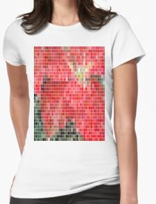 Mottled Red Poinsettia 1 Ephemeral Mosaic Womens Fitted T-Shirt