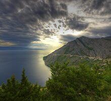 Landscape on the Mediterranean sea sunset naturalistic fine art - Mare d'Estate by visionitaliane