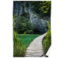 Walkway over the water in Plitvice color photo - Immersi nell'Estate Poster
