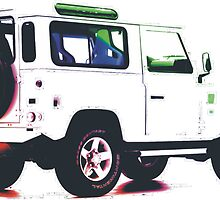 Land Rover Defender White  by Sally-Anna
