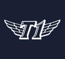 SKT T1 simple white logo (right chest) Kids Clothes