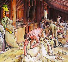 Art Giraffe- Shearing The Rams by Sundayink