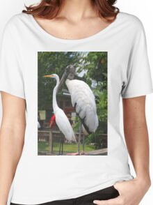 A Wood Stork standing next to a White Heron Women's Relaxed Fit T-Shirt
