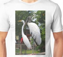 A Wood Stork standing next to a White Heron Unisex T-Shirt