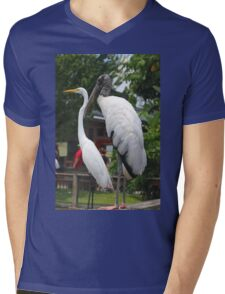 A Wood Stork standing next to a White Heron Mens V-Neck T-Shirt