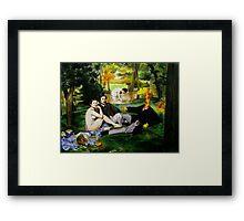 Art Giraffe- Le Dejeuner Sur L'Herbe Framed Print