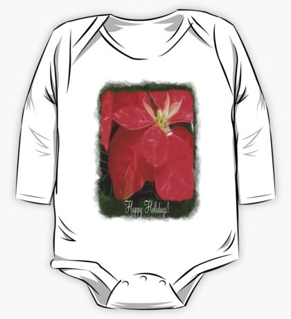 Mottled Red Poinsettia 1 Ephemeral Happy Holidays P1F1 One Piece - Long Sleeve