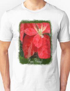 Mottled Red Poinsettia 1 Ephemeral Happy Holidays P1F1 T-Shirt