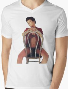 Seated Mens V-Neck T-Shirt