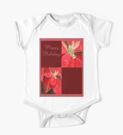 Mottled Red Poinsettia 1 Ephemeral Happy Holidays Q10F1 One Piece - Short Sleeve