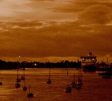 vintage:  spirit of tasmania at sunset by kukkamoon
