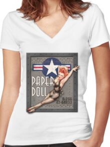 """Paper Doll"" WWII Nose Art Women's Fitted V-Neck T-Shirt"