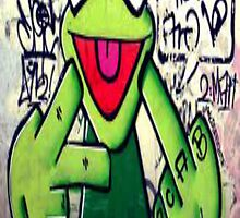 Kermit the Frog says fu by Justin Kalaveras