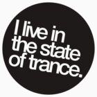 I Live In The State Of Trance (black stencil)  by DropBass