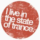 I Live In The State Of Trance (distressed orange)  by DropBass