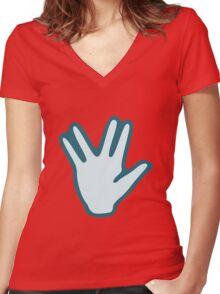 Vulcan Salute Women's Fitted V-Neck T-Shirt